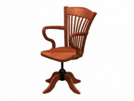 Classical wood swivel chair 3d model