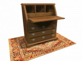 Chippendale desk secretaire 3d model