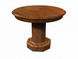 Circular wood solid table 3d model