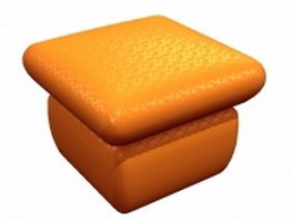 Orange color puff ottoman 3d model