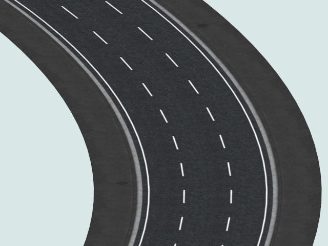 Three Lane Left 30 Curved Road 3d Model 3ds Files Free