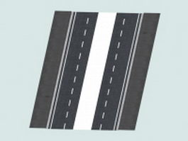 4 way road surface marking 3d model