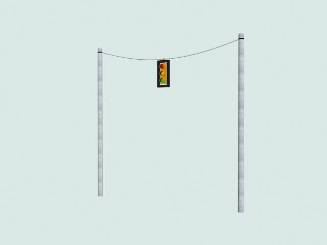 Wire Mounted Traffic Light 3d Model 3ds Files Free