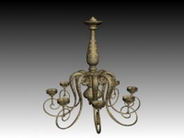 Antique brass chandelier 3d model