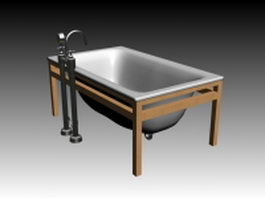Wood base enameled bathtub 3d model