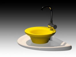 Yellow vessel washbowl 3d model