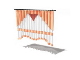 Orange grommet curtain 3d model