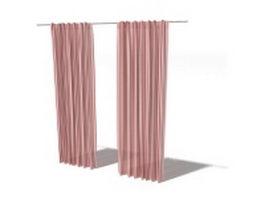 Stripes fabric long curtain 3d model