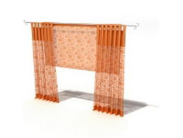 Tab top curtain with roman shade 3d model