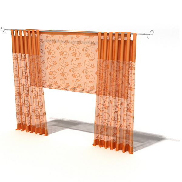 Tab Top Curtain With Roman Shade 3d Model 3dsmax 3ds Files