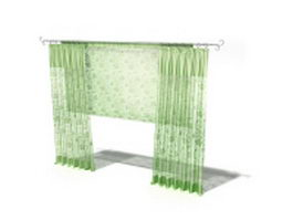 Green flat panel curtain with roman shade 3d model