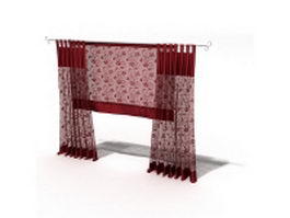 Red sheer panel curtain with roman shade 3d model