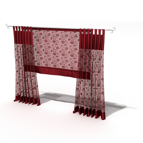 Red Sheer Panel Curtain With Roman Shade 3d Model 3dsmax