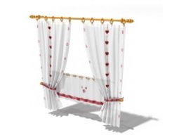 Flat panel curtain with shade and straps 3d model