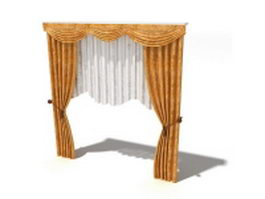 Gold curtains with shade and swag valance 3d model