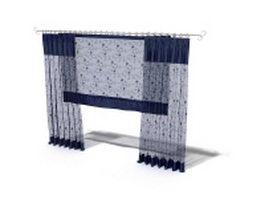 Flat panel sheer curtain with shade 3d model