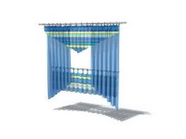 Blue curtain with shade and valance 3d model