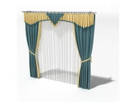 Drapes with swag and sheer curtain 3d model