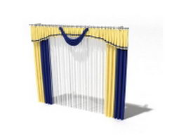 Yellow and blue drape with sheer curtain 3d model