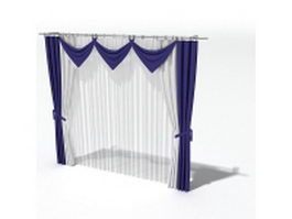 Indigo drapery with swags and sheer curtain 3d model