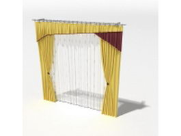 Yellow drapery and sheer curtain 3d model