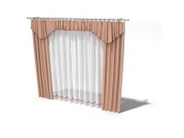 Light salmon draperies and sheer curtain 3d model