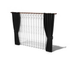 Blackout drapes with sheer curtain 3d model