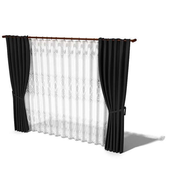 blackout drapes with sheer curtain 3d model 3dsmax 3ds