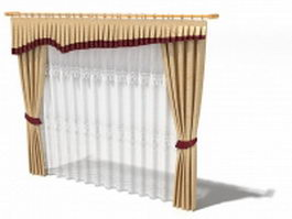 Window treatment drapes and valances 3d model