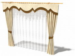 Beige drapery with valance and sheer curtain 3d model
