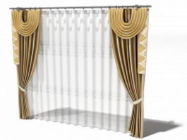 Valance with tie-back panels 3d model