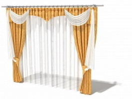Drapes and valance with squire swag 3d model