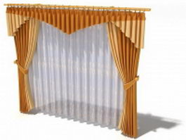 Sandy brown drapes with valance 3d model