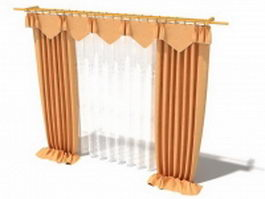 Floor-length drapes with valance 3d model