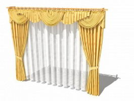 Golden drapes and curtains with valance 3d model