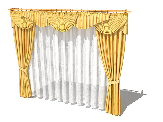 Golden Drapes And Curtains With Valance 3d Model 3dsmax