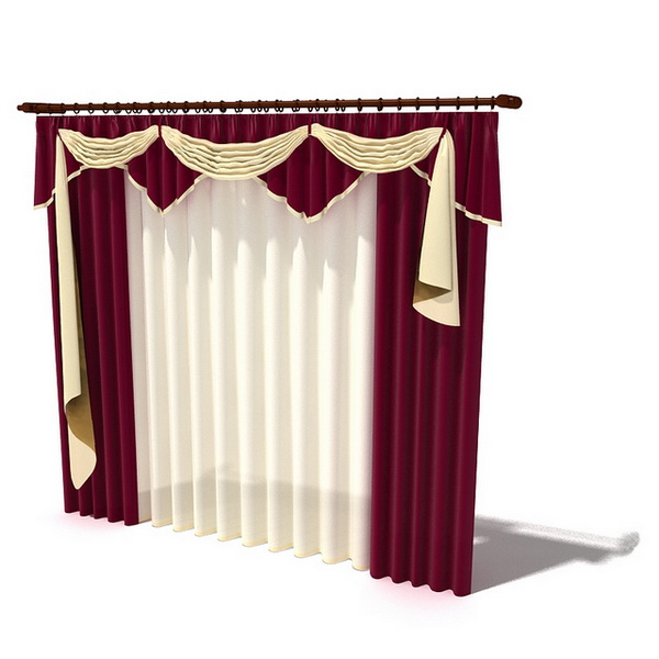 Maroon Drapes And Scarf Swag Valance 3D Model