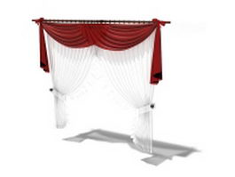 Valance with tie-back sheer panels 3d model
