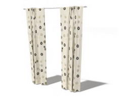 Printed blackout pole pocket curtain 3d model
