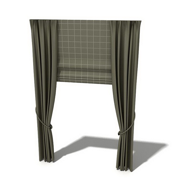 Roman Shades And Holdback Curtains 3d Model 3dsmax 3ds