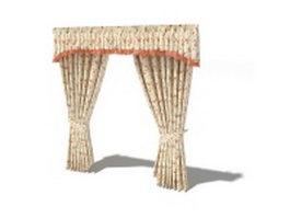 Pelmet valance and holdback curtains 3d model