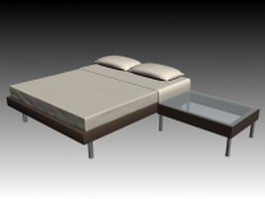 Modern double bed with bedside table 3d model