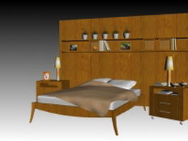 Wood bed with bedroom accessories 3d model
