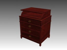 Classical rosewood nightstand 3d model