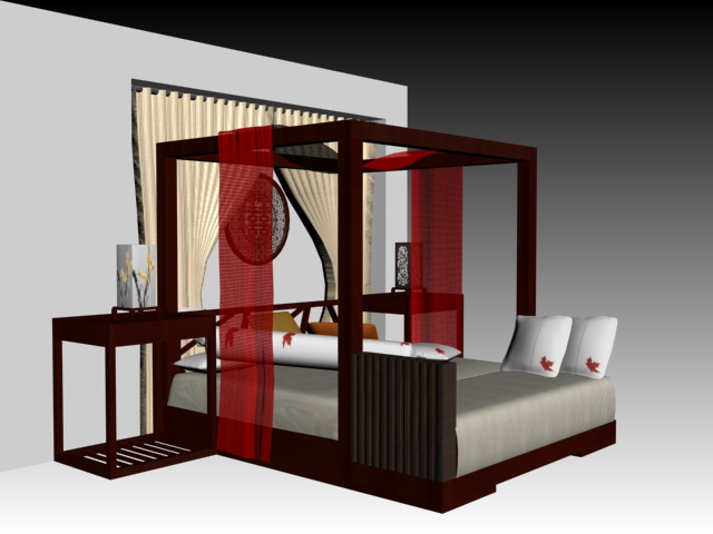 chinese style four poster bed 3d model