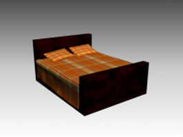 Classical wood double bed 3d model