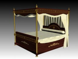 Antique four-poster bed 3d model