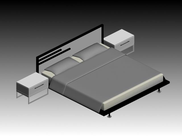 platform bed with nightstands 3d model 3dsmax files free download modeling 15559 on cadnav. Black Bedroom Furniture Sets. Home Design Ideas