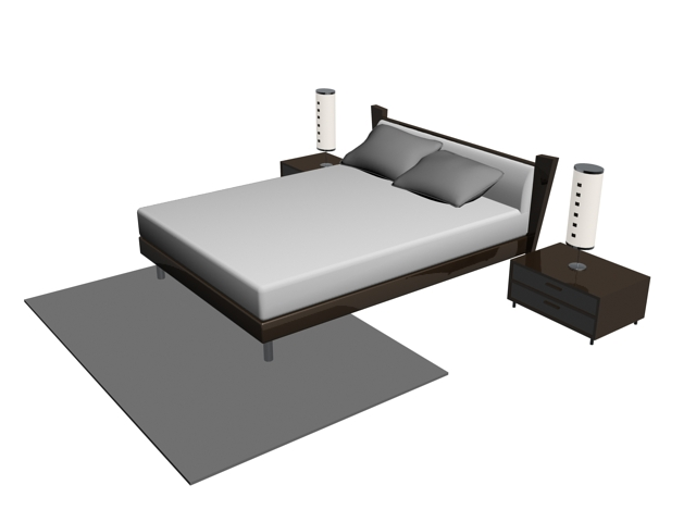 Modern bed,night tables and lamps 3d model