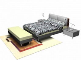 Contemporary style bedroom set 3d model